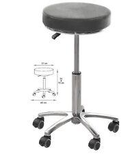 Tabouret base métal assise noire synthétique - matériel coiffure esthétique kiné