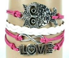 Big Owl Love Letters Pink & White Infinity Layer Wrap Bracelet