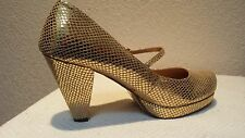 Mary Jane pumps in a gold faux snake skin that reflects 6.5