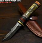 Louis Martin Hand Forged Damascus Steel Camel Bone Art Hunting Skinner Knife