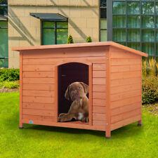 Outdoor Wood Dog House Elevated Slant-Roofed Pet Shelter Kennel Resistant Home