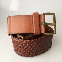 Ann Taylor Loft Braided Leather Belt Brown Wide Size Medium