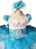 Infant/toddler/baby Blue/White Crystals Beaded Pageant Glitz Dress G026BN
