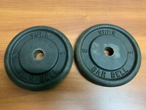 Set of 2 Vintage York Barbell 10 LB Weight Plates Standard Barbell 20 lbs