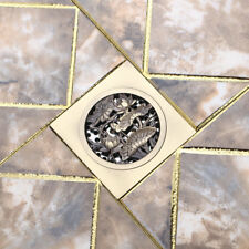 Antique Brass Square Carve Bathroom Floor Drainer Shower Drain Floor Waste Grate