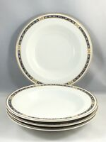 Syracuse China OPCO MISTIC Blue Rimmed Soup Cereal Bowls Set of 4