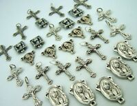 Crucifix Mary Cross Rosary Center Piece Silver P Lot 30