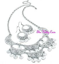 Silver Ethnic Bedouin Berber Crescent Moon Crystal Feature Necklace Earrings Set