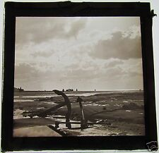 NICE Glass Magic lantern slide  BEACH SCENE WITH ANCHORS C1890