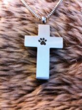 Dog Cat Paw Print Cross Cremation Urn Memorial Pendant + Necklace Ashes keepsake