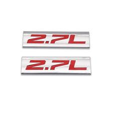 2x Silver&Red 2.7L Emblem 2.7 Car Badge Chrome Metal Sticker Sport Turbo Decal
