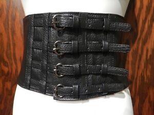 4-BUCKLE ELASTIC WAIST CINCHER black corset belt wide gothic witch vampire Y5