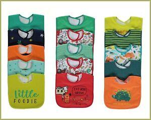 Baby Boys Large Novelty Slogan Dribble Bibs 5 Pack Adjustable Hook & Loop BNWT