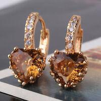 Unique 18k White Gold filled Crystal Rhinestone Charming Hoop Stud Earring C0041