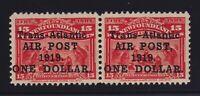 Newfoundland Sc #C2/C2a (1919) $1 on 15c Alcock & Brown Flight Pair Mint VF H