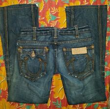 True Religion Sydney Flare Jeans Women 28 Twisted Destroyed Honeycomb Distressed