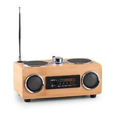 COMPACT PORTABLE FM RADIO TUNER SPEAKER BATTERY TRAVEL USB SD AUX BAMBOO - WOOD