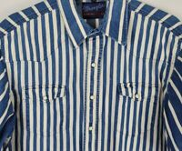 Vintage Wrangler Western XL Blue Denim Pearl Snap Short Sleeve Collar Shirt