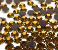 85 Hotfix Strasssteine 6mm GOLD GLAS STRASS Bügelsteine Glitzersteine 54