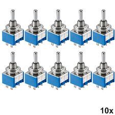 10x Miniatur Kippschalter 2-polig 6 Pins Umschalter mit Lötösen EIN-AUS-EIN