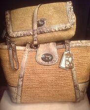 Coach Natural Straw Hampton Python Snakeskin 19359 Tote+47740 Wristlet Wallet