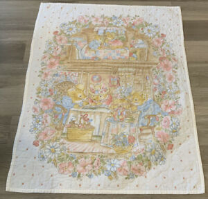 Vintage Crib Quilt, Printed Whimsical Design, Bunnies, Mice, Flowers, Tea Party