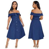 Women Denim Long Dress Buttons Off Shoulder A-line Ruffles Casual Party Clubwear