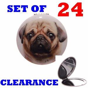 TWENTY FOUR PUG NOVELTY COMPACT MIRROR BAG PARTY JOB LOT WHOLESALE CLEARANCE