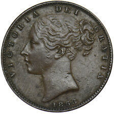 More details for 1853 farthing (ww incuse) - victoria british copper coin - nice