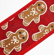 "2 Yds,1.5"" RED,BROWN Gingerbread Men,Extra Nice Satin-bound Wire Edge Ribbon"