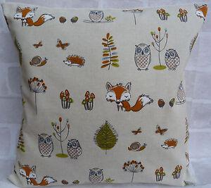 "Fryetts Woodland Fox Owl Hedgehog cushion cover - 16"" All Sizes Available"