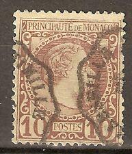 1885 MONACO 10 c  PRINCE CHARLES III Sc 4 USADO