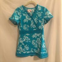 Koi by Kathy Peterson Womens Scrubs Top Teal Floral Style 147 Cotton Small
