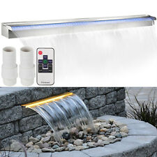 """Lighted 59"""" Stainless Steel Spillway Color Changing Garden Outdoor Waterfall"""