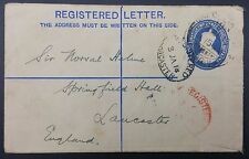 India-1914 KGV Preprinted 2 Anna + 1/2 Anna. Calcutta Registered Cover to UK