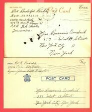 USA WWII Army Soldier Mail 2 diff Free Franked Post card used 1943