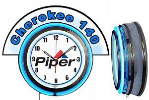 "Piper Aircraft w/ Cherokee 140 Marquee 19"" Blue Neon Clock Mancave"