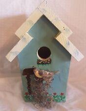 Blue Wooden Bird House Feeder Features Blue Bird and Flowers