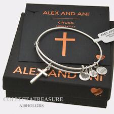 Authentic Alex and Ani Cross (ii) Rafaelian Silver Expandable Charm Bracelet