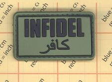 PVC GREEN INFIDEL PATCH AFG/PAK ISAF JSOC TEAM ARABIC DARK OPS USA MILITARY b6