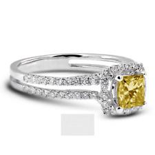 2ct Gelb SI1 Prinzessin Natürlich Zertifiziert Diamanten 18k Gold Halo Sidestone