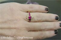 Vintage Effy 14k Yellow Gold .80 Carat Oval Red Ruby Diamond Cluster Ring Size 5