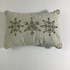 Throw Pillow Gold Silver Mixed Snow Flake Beaded Jeweled Rectangle Festive