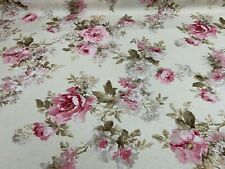 "Vintage  Antique Rose  Ivory Pink Cotton 140cm/54"" Curtain/Craft Fabric"