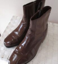 REDUCED 15%  Men's Cranston Styles 100% Leather Boots, Side Zipper, Brown, 9.5D