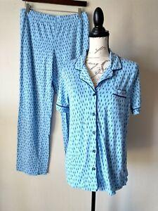 Liz Claiborne Women 2Pc Pajama Set Shirt Pants Button Short Sleeve Blue Sz.M