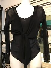 Chiffon Shrug Black Delicate Sequins Tie Front Size 10-12 M evening Coverup
