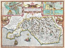 1611 Original Antique Map - WALES GLAMORGANSHIRE by John Speed Sudbury Humble