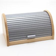 Holzfee BK-RB Silber Brotkasten 39 cm Holz Brotbox Brot Rollkasten Brotkiste