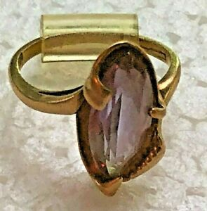 Gold vintage ring with oval amethyst stone; 3.8 gr, Size 6